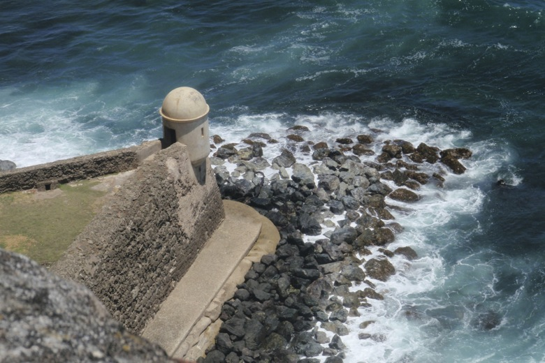 Sentry box looking into the Atlantic Ocean, San Juan, PR